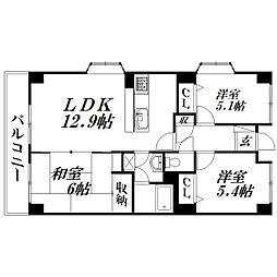 静岡県浜松市中区鴨江4丁目の賃貸マンションの間取り