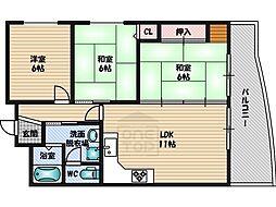 江坂第2下伊マンション[6階]の間取り