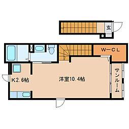 静岡県静岡市清水区駒越中の賃貸アパートの間取り