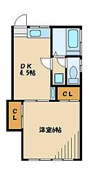 広田ハイツI[2階]の間取り