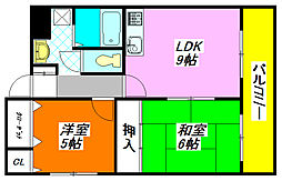 大阪府東大阪市中小阪5丁目の賃貸マンションの間取り