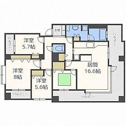 北海道札幌市中央区南十九条西5丁目の賃貸マンションの間取り