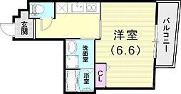 阪神本線 打出駅 徒歩2分の賃貸マンション 3階1Kの間取り