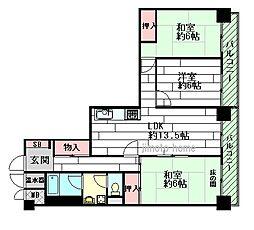 ライオンズマンション緑地公園[2階]の間取り