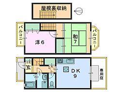[テラスハウス] 奈良県奈良市法蓮町 の賃貸【奈良県 / 奈良市】の間取り