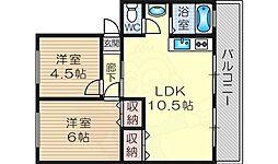 ヴィラ北野 4階2LDKの間取り