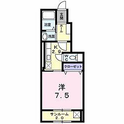 新潟県新発田市中曽根町2丁目の賃貸アパートの間取り