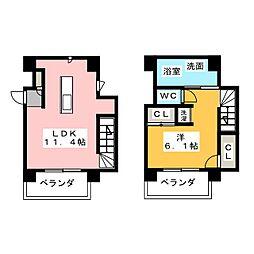 愛知県名古屋市西区城西1丁目の賃貸マンションの間取り