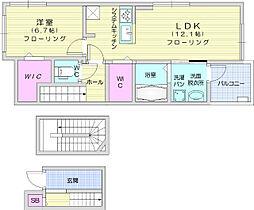 ドミール南仙台 1階1LDKの間取り