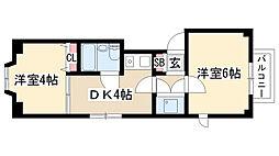 愛知県名古屋市天白区大坪1丁目の賃貸マンションの間取り