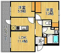 浅川団地100棟[3階]の間取り