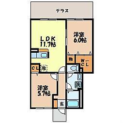 長崎県諫早市長野町の賃貸アパートの間取り