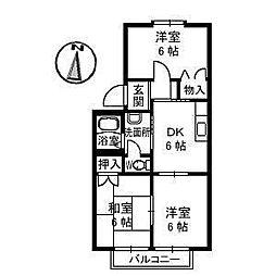 ハーモニー16 A棟[202 号室号室]の間取り