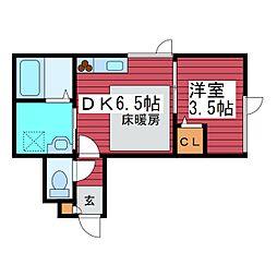 アークタウン西岡D[2階]の間取り