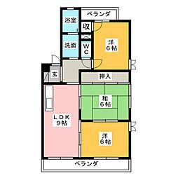 愛知県岩倉市昭和町2丁目の賃貸マンションの間取り
