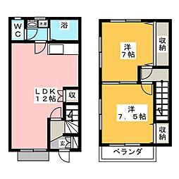 [テラスハウス] 愛知県一宮市篭屋5丁目 の賃貸【愛知県 / 一宮市】の間取り