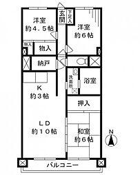 宮前平富士通ハイツB棟[526号室]の間取り