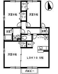 福岡県遠賀郡水巻町猪熊1丁目の賃貸アパートの間取り