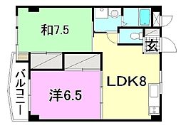 ビージョイマンション5号館[902号室]の間取り