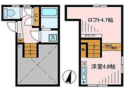 東京メトロ丸ノ内線 中野新橋駅 徒歩3分の賃貸アパート 2階ワンルームの間取り