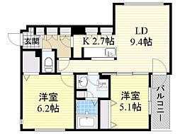 札幌市電2系統 中島公園通駅 徒歩5分の賃貸マンション 1階2LDKの間取り
