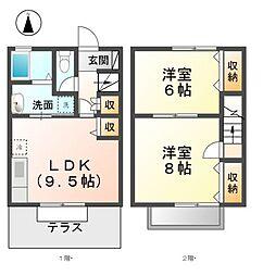 愛知県稲沢市北市場本町4丁目の賃貸アパートの間取り