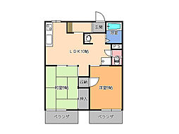 栃木県宇都宮市今宮1丁目の賃貸アパートの間取り