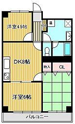 神奈川県川崎市中原区新城1丁目の賃貸マンションの間取り