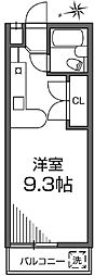 JR南武線 西国立駅 徒歩5分の賃貸マンション 2階ワンルームの間取り