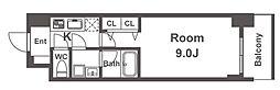 スプランディッド淀屋橋DUE 12階1Kの間取り