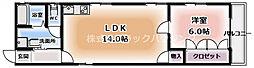 ライフコート7番館 4階1LDKの間取り