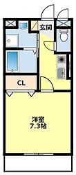 名鉄豊田線 黒笹駅 4.8kmの賃貸アパート 2階1Kの間取り