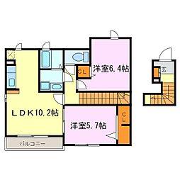 フラワー高横須賀[202号室]の間取り
