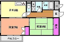 JR東海道・山陽本線 六甲道駅 徒歩12分の賃貸マンション 1階2DKの間取り