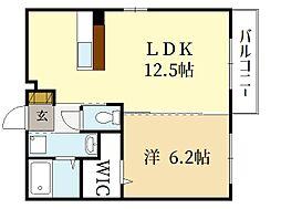 ル アンブル B 1階1LDKの間取り