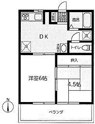 神奈川県相模原市中央区相模原5丁目の賃貸アパートの間取り