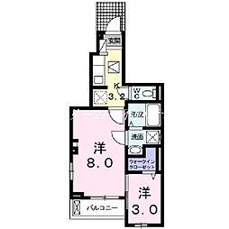 JR山陽本線 高島駅 徒歩13分の賃貸アパート 1階1Kの間取り