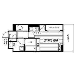 名古屋市営鶴舞線 塩釜口駅 徒歩6分の賃貸マンション 1階ワンルームの間取り