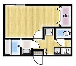 小田急小田原線 百合ヶ丘駅 徒歩13分の賃貸アパート 1階1Kの間取り