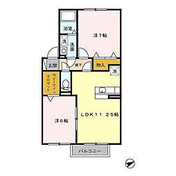 埼玉県春日部市一ノ割4丁目の賃貸アパートの間取り
