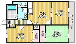 Osaka Metro長堀鶴見緑地線 鶴見緑地駅 徒歩22分の賃貸マンション 1階3DKの間取り