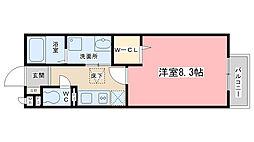 京都府京都市山科区勧修寺平田町の賃貸アパートの間取り