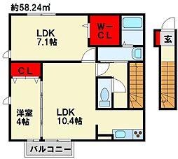 仮)D−room与原CⅡ A棟[208号室]の間取り