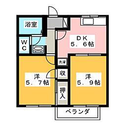 リバーサイド大竹A・B[2階]の間取り