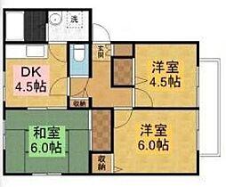 千葉県八千代市高津の賃貸アパートの間取り
