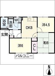 グリーンフラッツA棟[1階]の間取り
