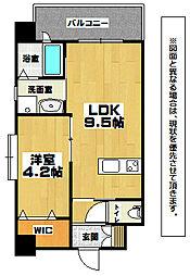 アクシオ三萩野 2階1LDKの間取り