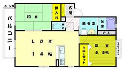 ラフォ−レ三苫駅前B[1階]の間取り