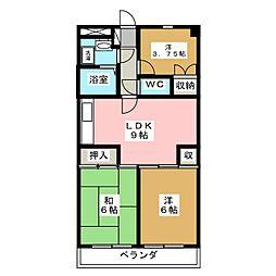 サンコート椙田 3階2DKの間取り