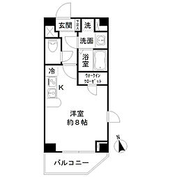 サクレ九段上 12階ワンルームの間取り